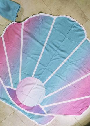 Пляжное полотенце ракушка с жемчужиной, большое полотенце