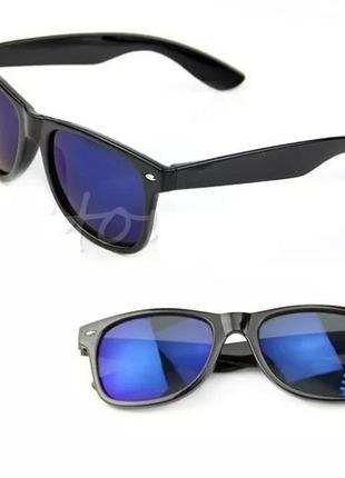 Классические солнцезащитные очки унисекс синие зеркальные линзы мужские женские