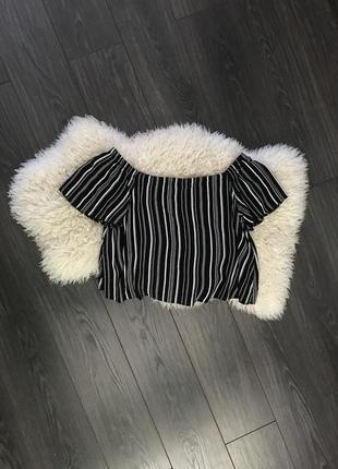 Полосатая кофта с открытыми плечами new look