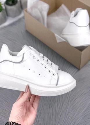 Удобные белые кеды, кроссовки с рефлективными вставками