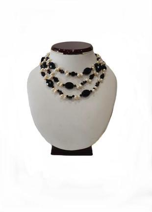 Ожерелье жемчуг  в ониксе натуральные камни