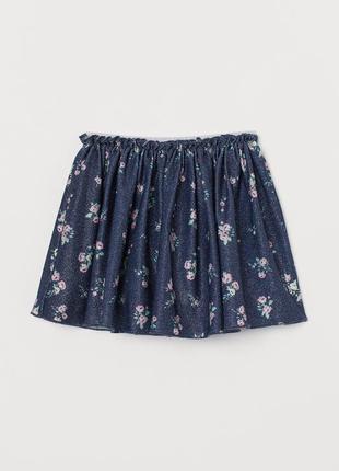 2-4/4-6/6-8/8-10 лет h&m новая фирменная расклешенная трикотажная юбка с переливом цветы