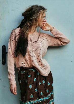 Джемпер ажурный кружевной george с разрезом вязаный свитер пуловер нюд нюдовый