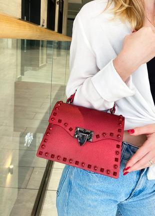 Новая матовая сумка с заклепками, яркая повседневная женская сумка, ремень через плечо