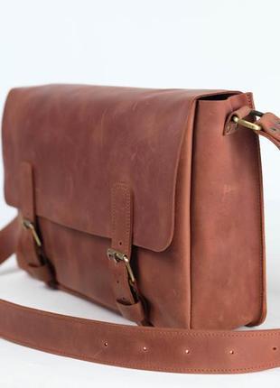 Мужской кожаный мессенджер, портфель, сумка через плечо, №48, кожа винтаж, цвет коньяк