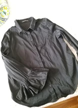 Стильная черная рубашка m&s