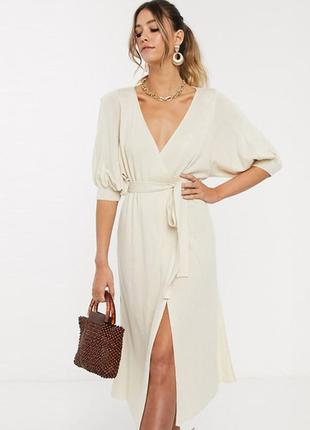 Распродажа платье миди тонкая вязка с запахом и пышными рукавами asos