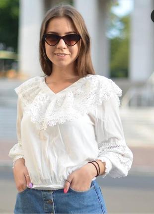 Блузка с кружевом, макраме