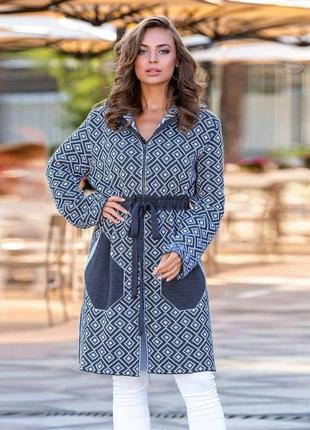 Теплый стильный тренч черно-голубой легкое пальто