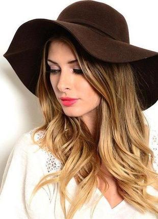 Стильний красивий ефектний коричневий капелюх , капелюшок ,шляпа