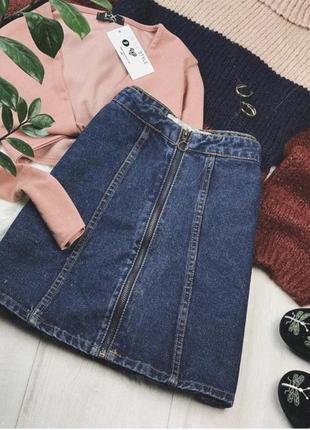 Джинсовая трендовая юбка