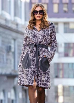 Легкое пальто тренч розово-черный украина