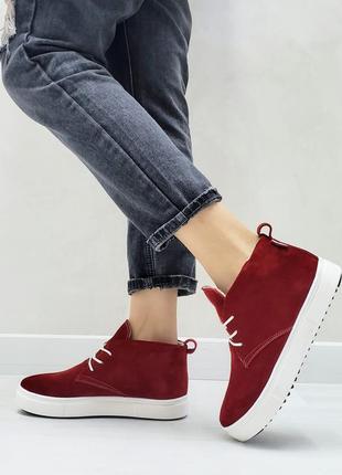 Хайтопы замшевые р32-41 красные ботинки полуботинки сапоги хайтопи червоні черевики чоботи