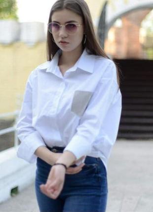 Рубашка бойфренд, блузка, рубашка с карманом