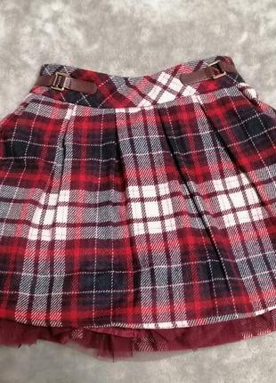 Теплая юбка в клетку nutmeg на 4-5 лет