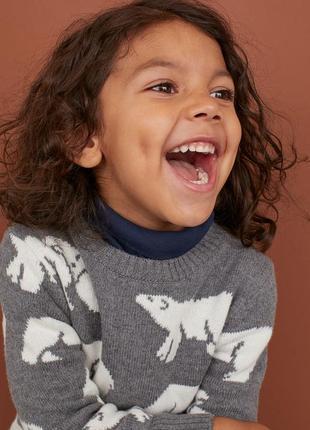 Мягкий теплый свитер джемпер h&m 92 см 1,5-2 года белые медведи