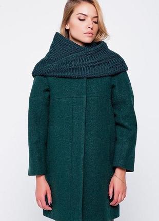 Очень крутое пальто кокон зеленого цвета шерстяное emass