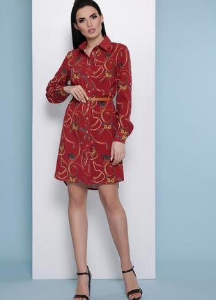 Стильное рубашечное платье с длинным рукавом