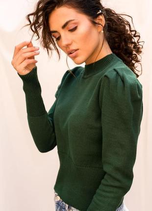 Вязаный свитшот с рукавами фонариками зелёного цвета ❀