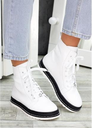 Ботинки белые кожаные 7477-28