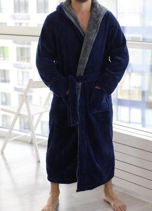Мужской махровый халат с капюшоном. длинный тёплый махровый халат батал мужчине. хл-4хл