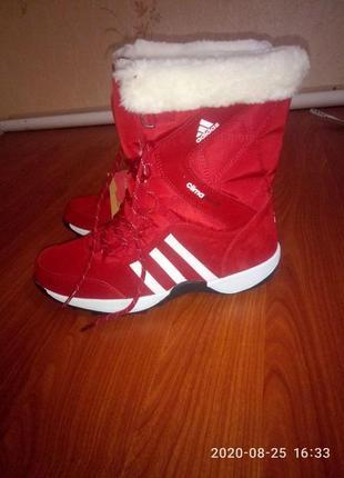 Ботинки adidas climaproof женские зимние (красные)