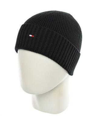 Мужская шапка tommy hilfiger хлопок осень зима однослойная без подкладки