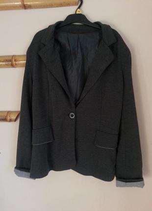 Стильный пиджак темно серого цвета на одну пуговицу