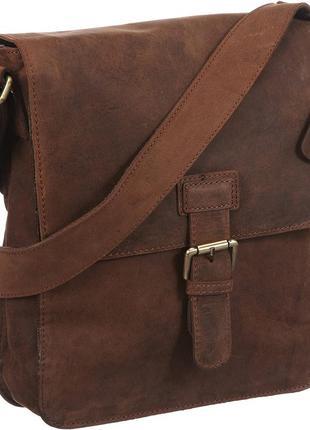 Шикарная мужская кожаная сумка с длинным ремнем clarks