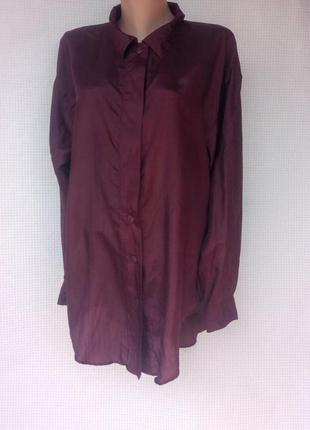 Шелковая рубашка oversize сливового цвета reine silk