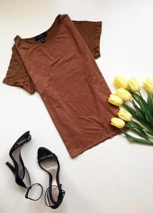 Замшевая футболка /  из замши / коричневая замша/ искуственная замша трикотаж