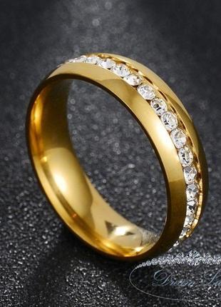 Кольцо с позолотой из нержавеющей медицинской стали «верона» (р. 17.0 18.0 19.0 20.0 21.0)