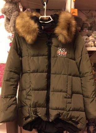 Куртка,пуховик цвета хаки