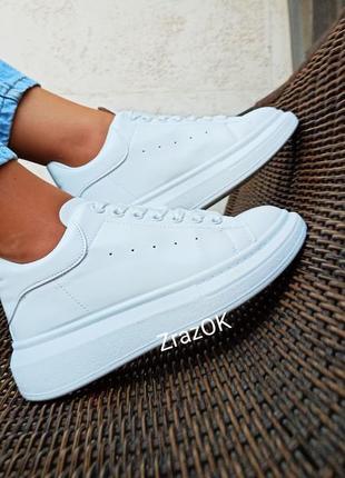 Белые красные черные пудровые кроссовки кеды ботинки осенние в стиле mcqueen