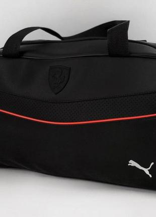 Сумка спортивная puma кожзам черная белый логотип