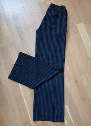 Брюки h&m black, брюки кюлоты в полоску на манжетах