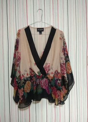 Шикарная блуза h&m,блузка разлетайка шифоновая нарядная xl с цветами,летучая мышь