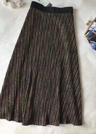 Шикарная мерцающая блестящая новая юбка primark длины миди