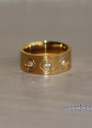 Кольцо с позолотой из нержавеющей медицинской стали «сицилия» (в нал. 18.0 19.0 20.0 21.0)