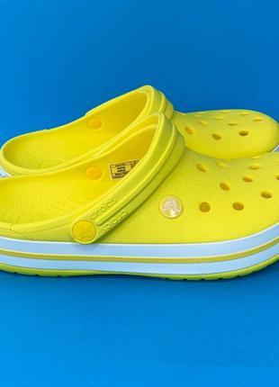 Crocs lemon white крокс сабо кроксы крокбенд жёлтые лимонные ,36-44