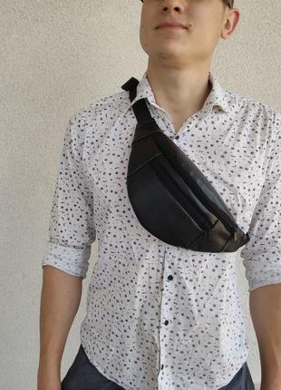 Чоловіча сумка бананка на пояс через плече з екошкіри