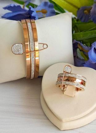 Комплект: тройной браслет и кольцо с булавкой из медицинской стали, тренд 2020