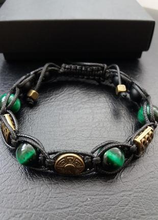 Стильный браслет, браслет шамбала №16, тигровый глаз, шунгит