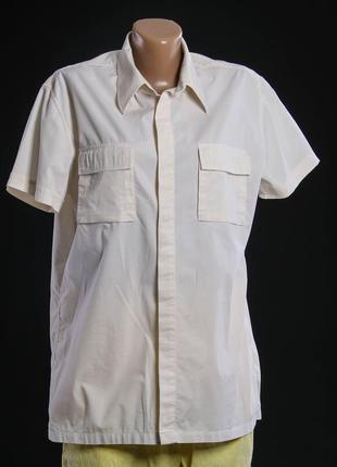 Mexx. рубашка хлопковая, холодный бежевый цвет с накладными карманами.