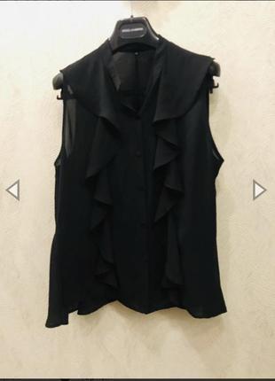 Чёрная топ блуза с воланами от imperial 👑