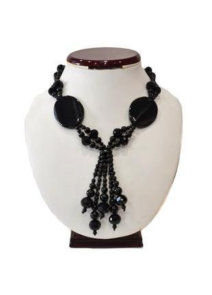 Ожерелье оникс.код п08. цвет черный