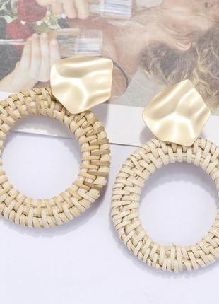 Стильные плетёные серьги - кольца