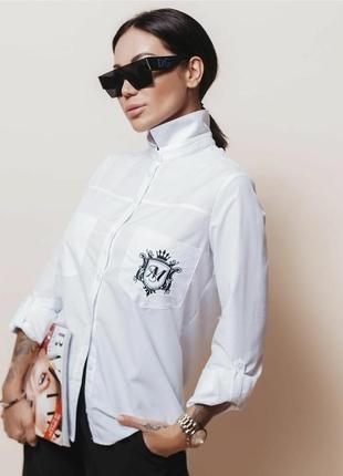 Женская белая рубашка из натурального коттона универсал