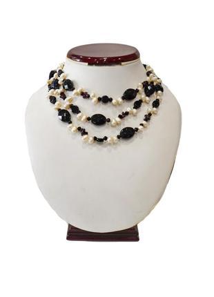 Ожерелье жемчуг  в ониксе   код п09