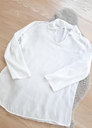 Белая пляжная рубашка марлевка